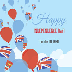 Independence Day Flat Greeting Card. Fiji Independence Day. Fijian Flag Balloons Patriotic Poster. Happy National Day Vector Illustration.