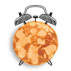 Fried pancake isolated on white. Time concept