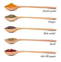 Poster Kruiden 2 Collection of spices in wooden spoons, isolated on white
