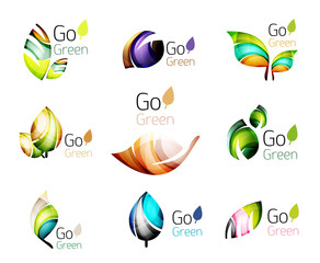 Multicolored abstract leaves in nature concept logo set