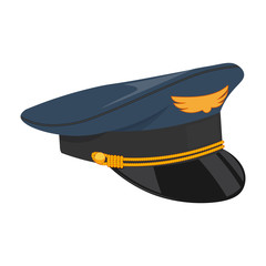 pilot cap vector illustration isolated on white background