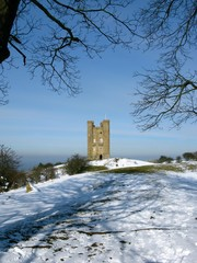 Cotswolds England Broadway Tower in winter snow