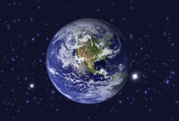 High Resolution Planet Earth view. The World Globe from Space in a star field showing the terrain. Elements of this image are furnished by NASA