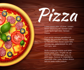 realistic Pizza recipe or menu vector background