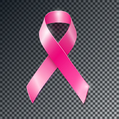 Vector pink ribbon breast cancer awareness symboll