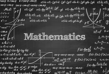 Mathematical vector seamless pattern on blackboard