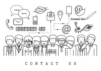 Business People-Contact Us-On White Background-Vector Illustration, Graphic Design