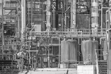 Close-up of chemical refinery plant
