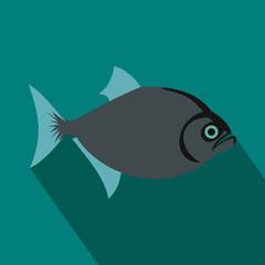 Vampire fish icon, flat style