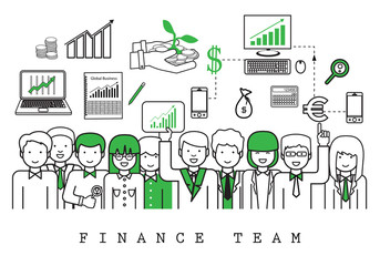 Finance Team-On White Background-Vector Illustration, Graphic Design