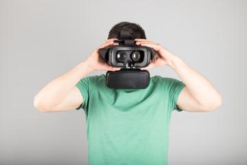 Man using virtual reality glasses