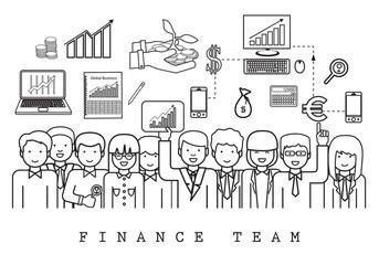 Finance Team-On White Background-Vector Illustration, Graphic Design