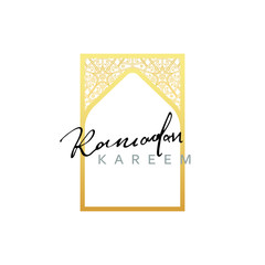 Gold Design Arab windows for Ramadan Kareem Template. Calligraphy for greeting card Ramadan Kareem