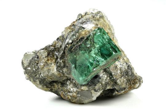 emerald nestled in bedrock found in Muzo/ Colombia