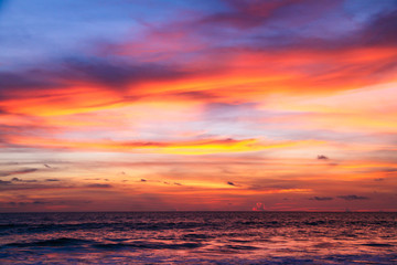 Colorful sunset on the andaman sea, Thailand