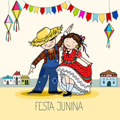 Boy and Girl dancing at the Brazilian june Festa Junina party, celebration greeting or invitation card. Hand drawn vector illustration