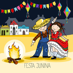Boy and Girl dancing by the fire. Brazilian june Festa Junina party, celebration greeting or invitation card. Hand drawn vector illustration