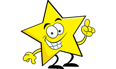 Cartoon illustration of a star with an idea.