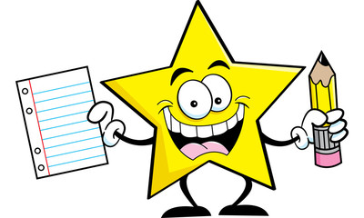 Cartoon illustration of a star holding a pencil and paper.