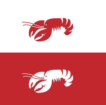 Red lobster on white and red background