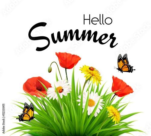 """""""Happy summer holidays background with flowers and ..."""