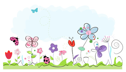 Summer time abstract colorful doodle flowers vector background