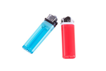 Blue and red lighters isolated on white background