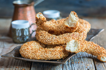 Turkish bagels with sesame seeds.