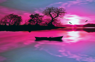 Poster Pink illustration of beautiful colorful sundown landscape