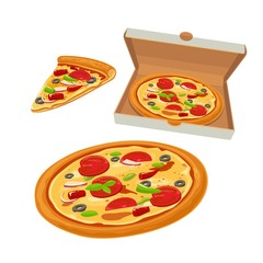 Whole pizza Mexican in open white box and slice. Isolated vector flat illustration for poster, menus, logotype, brochure, web and icon.
