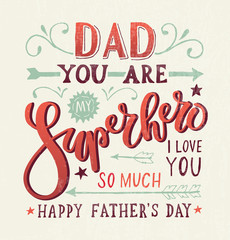 """Dad, you are my Superhero, I love you"" for postcard or print"