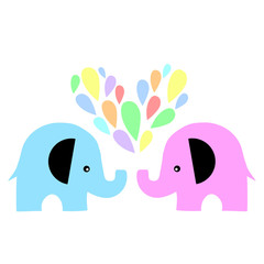 two elephant love fountain vector