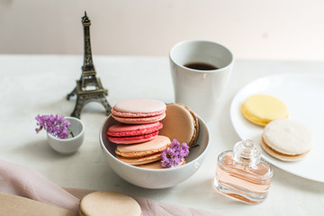french breakfast, macaroons and coffee