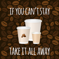 Coffee to go vector. Set of three coffee-to-go cups on pattern background.