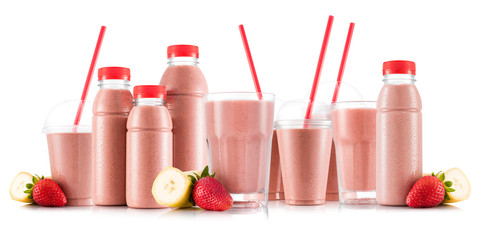 Strawberry and banana smoothie in many kinds of glasses and bottles