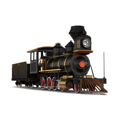 Steam train on a white 3D Illustration