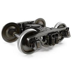 Train Wheels isolated on white 3D Illustration