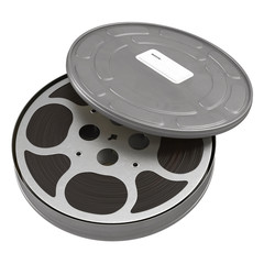 Movie film reel case on white 3D Illustration