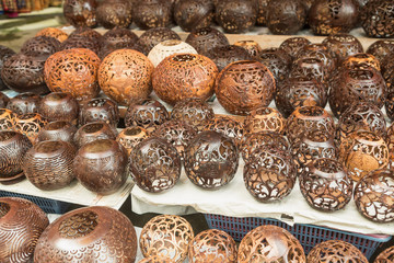 Coconut shell carving,Handicraft of indigenous people in Bali, Indonesia.