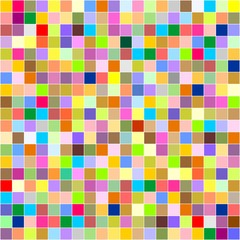 Colorful pixel background of colored squares in different colors in a row next to each other and one below the other with a white contour around the squares