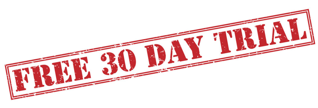 free 30 day trial red stamp on white background