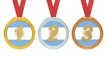 Gold, Silver and Bronze medals with Argentina flag, 3D rendering