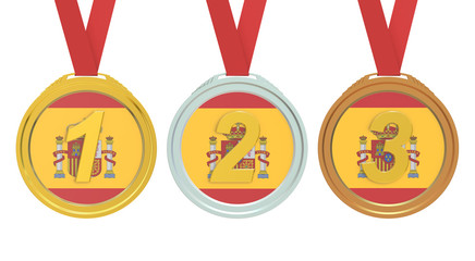 Gold, Silver and Bronze medals with Spain flag, 3D rendering