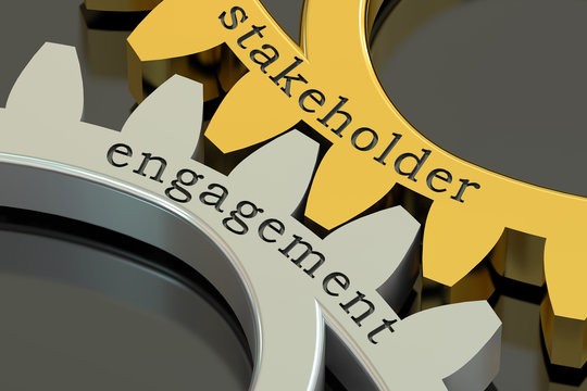 stakeholder engagement concept on the gearwheels, 3D rendering