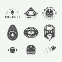 Set of vintage rugby and american football labels, emblems