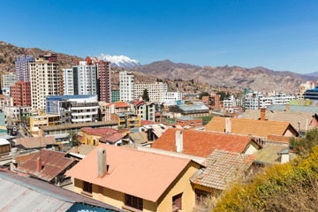 La Paz city Illimani mountain peak cityscape panorama view.