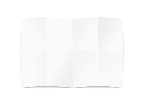 Blank map design mockup, isolated, clipping path, 3d illustration. Folded chart template mock up display. Clear draft plan paper sheet front view. Pattern diagram clear booklet. Clean map mockup.