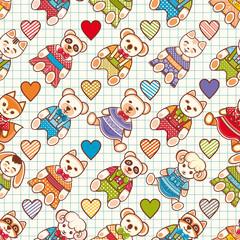 Animal. Seamless pattern.  Children's clothing.  Rabbit, hare, bear, cat, kitten, raccoon, koala, panda, fox, squirrel, sheep, dog