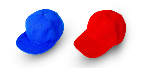 Blue and red baseball cap isolated on white background