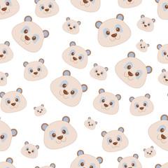 Cute bear face seamless pattern. Vector illustration.